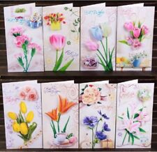 Foldable 3D Flower Greeting Cards Valentine Mothers Day Birthday Blessing Card