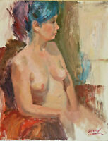 Original Oil Painting ( Sitting Nude) canvas board size 18 x 14 Single.