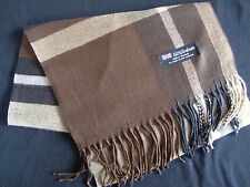 100% Cashmere Winter Scarf Scarve Scotland Warm Plaid True Brown Beige Shawl NEW