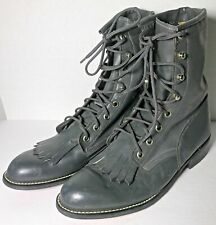 Texas Riding Roper Ankle Boots Women Size 6 Dark Gray Leather Cowgirl Hook/Lace