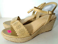 kate spade US 8.5M Nude Patent Leather Strappy Espadrille Platform Wedge Sandals