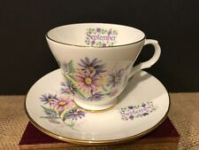 Crown Trent Bone China Cup & Saucer SEPTEMBER Birth Month Aster Flowers England