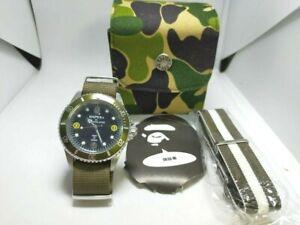 2009 BAPEX A BATHING APE BAPEX 1 NYLON BAND Automatic Wristwatch Green 40mm
