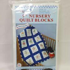 "JDNA Little Boys 9"" Nursery Quilt Blocks Bonnet Gifts Crafts Baby Blanket"