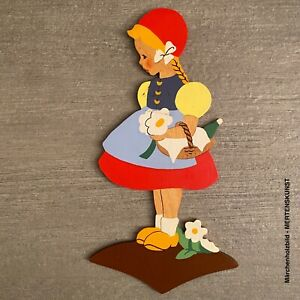 Vintage Märchen-Holzbild:1950er Mertens-Kunst Schnallen Mieder Rotkäppchen 22cm