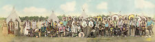 SIOUX INDIANS - FRONTIER DAYS - CHEYENNE, WY. 1938 PANORAMIC COLOR TINT PHOTO