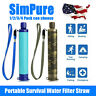 SimPure Portable Water Filter Straw Purifier Emergency Survival Tool For Hiking