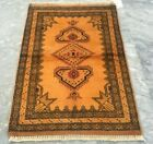 Antique Handmade Afghan Rug Hand Knotted Oriental Wool Area Rug Carpet 87x60 cm