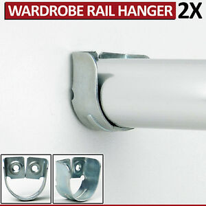 2 Rail Hanger Standard Tube Support Wardrobe Rod Socket Fitting Round Bracket