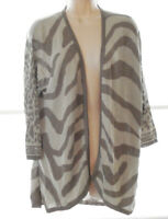 CHICO'S 2 TONE BEIGE OPEN SWEATER CARDIGAN 3/4 SLEEVE SIZE 2 (12-14) NEW W/O TAG