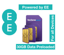 Vectone Powered by EE Data Sim card, Preloaded with 30GB Data for Unlock Dongles