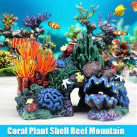 Aquarium Resin Coral Plant Shell Reef Mountain Cave Ornament Fish Tank Decor New