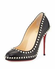 New Christian Louboutin Dora Spike Leather Red Sole Pump, Black/Silver 37.5