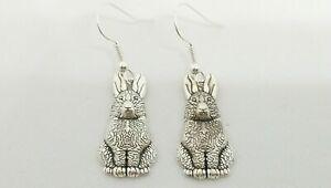 New Novelty Silver Rabbit Charm Drop Dangle Earrings Quirky Animal Boho