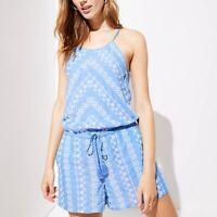 Ann Taylor LOFT Floral Chevron Tie Waist Romper Women's Size S 469959 Blue White