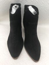 Asos Rhodes Suede Leather Pointed Toe Cowboy Boots Black  - Size UK 6 - BNIB