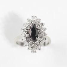 DAZZLING 14k YELLOW GOLD MARQUISE SAPPHIRE & 1 CARAT DIAMONDS RING size 7.25