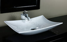 Bathroom Ceramic Vessel Sink With Chrome Faucet & Drain 7701AA46C