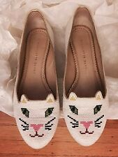 Charlotte Olympia Kitty Cat White Embroidered Flat Shoes Sz 37