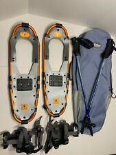 YUKON Charlie's 825 Orange Frame Snowshoes (8 x 25) w/ LL Bean poles & Bag
