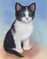 Black & White Cat Ltd Edition Fine Art  Print of Original Sue Barratt Painting