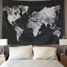 Starry World Map Tapestry Black&White Abstract Painting Wall Hanging Home Decor