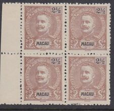 Macao :1898 2 1/2a brown perf 11 1/2 Sg115 unused no gum-as issued block of four