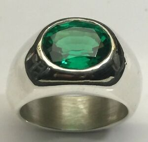 MJG STERLING SILVER MEN'S RING.12 X 10mm OVAL NANO EMERALD FACETED. SZ 10 1/2