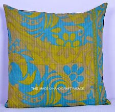 "24"" MULTI COLOR PILLOW CUSHION COVER THROW Vintage Kantha Stitched Embroidery"