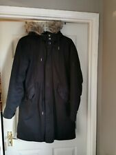 Pretty Green Winter Parka With Detachable Hood And Faux Fur Collar Size M