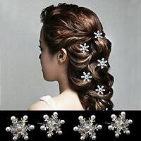 EG_ 4Pcs Women's Snow Flake Embedded Rhinestone Faux Pearl Hair Pins Clips Perfe
