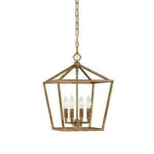 4-Light 12 in. Wide Vintage Gold Taper Candle Pendant by Millennium Lighting