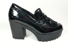River Island Black Faux leather High Block Heel Shoes Uk 5 Eu 38