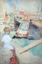 DAVID WOODLOCK Signed 1905 Original Watercolor - LISTED
