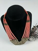 """MULTI STRAND CORAL MIXED METAL BEADED COLLAR BIB STATEMENT NECKLACE 18"""""""