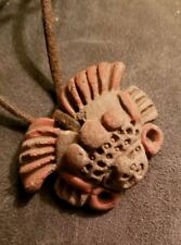 Hand Made Very Old Clay Necklace Hand Painted