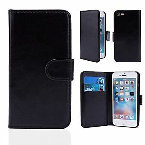 BLACK PU LEATHER WALLET CASE FOR iPHONE 7 WITH FREE SCREEN PROTECTOR!!