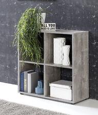 Wilmes: Raumteiler mit 4 Fächer - Bücherregal Standregal Regal - Betonoptik