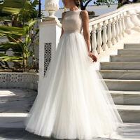 Women Maxi Wedding Swing Sleeveless Dress Bride Gown Ball Party Long Mesh Dress