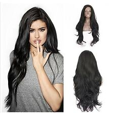 Natural Dark root Black Long Wavy Lace front celebrity Womens Full Hair Wig