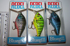 "REBEL U.S.A. FISHING LURES LOT OF 3, ""BLUEGILL""  Trout, Bass, Cod, Bream. *"