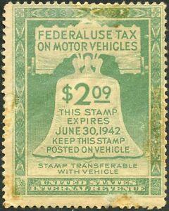 USA MOTOR VEHICLE TAX 1942 $2.09 STAMP