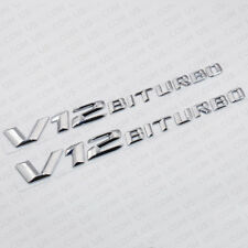 ABS OEM V12 BITURBO Side Fender Logo Nameplate Emblem AMG Decoration 2pcs