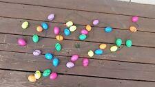 Vintage Plastic Easter Egg Light String Set 35 eggs on 15 1/2' + Over 2' tail