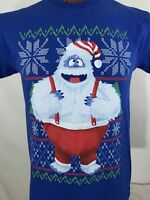 The Abominable Snowman Rudolph Blue Graphic T Shirt 100% Cotton M