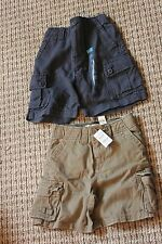 THE CHILDREN'S PLACE BOYS 24M PAIR OF 2 SHORTS NAVY BROWN CARGO NWT 26-29 LBS