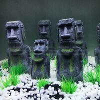 2pcs Easter Island Statue Ornament Aquarium Decor Fish Tank Rock with Face Heads