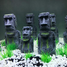 2pcs Easter Island Statue Ornament Aquarium Decor Fish Tank Rock with Face Heads