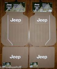 Jeep Elite Tan Front and Rear Car Truck Rubber Floor Mats NEW