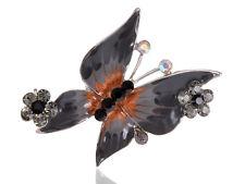 Rhinestone Studded Outline Butterfly Brooch Jet Black Enamel Body Alloy Crystal